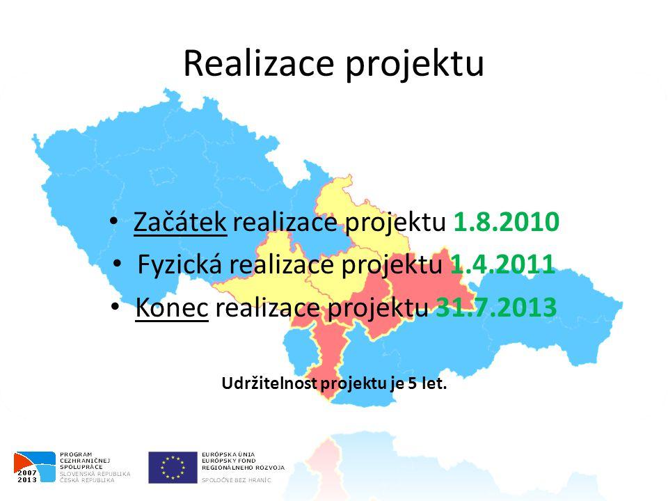 Realizace projektu • Začátek realizace projektu 1.8.2010 • Fyzická realizace projektu 1.4.2011 • Konec realizace projektu 31.7.2013 Udržitelnost projektu je 5 let.
