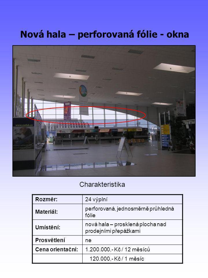 Nová hala – perforovaná fólie - okna Rozměr:24 výplní Materiál: perforovaná, jednosměrně průhledná fólie Umístění: nová hala – prosklená plocha nad prodejními přepážkami Prosvětleníne Cena orientační:1.200.000,- Kč / 12 měsíců 120.000,- Kč / 1 měsíc Charakteristika