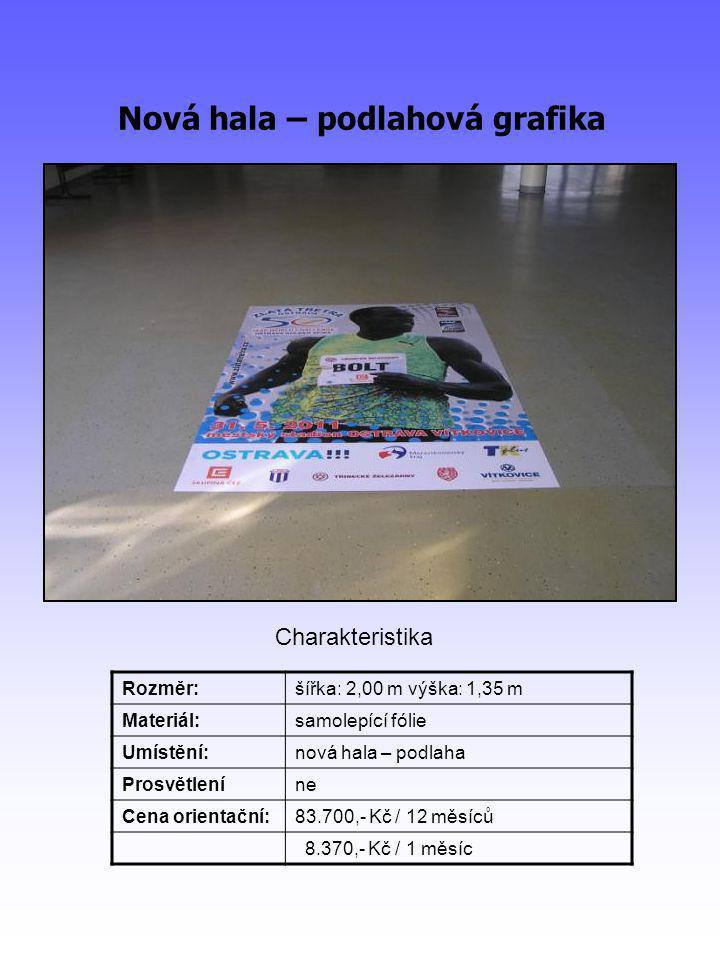Nová hala – podlahová grafika Rozměr:šířka: 2,00 m výška: 1,35 m Materiál:samolepící fólie Umístění:nová hala – podlaha Prosvětleníne Cena orientační:83.700,- Kč / 12 měsíců 8.370,- Kč / 1 měsíc Charakteristika