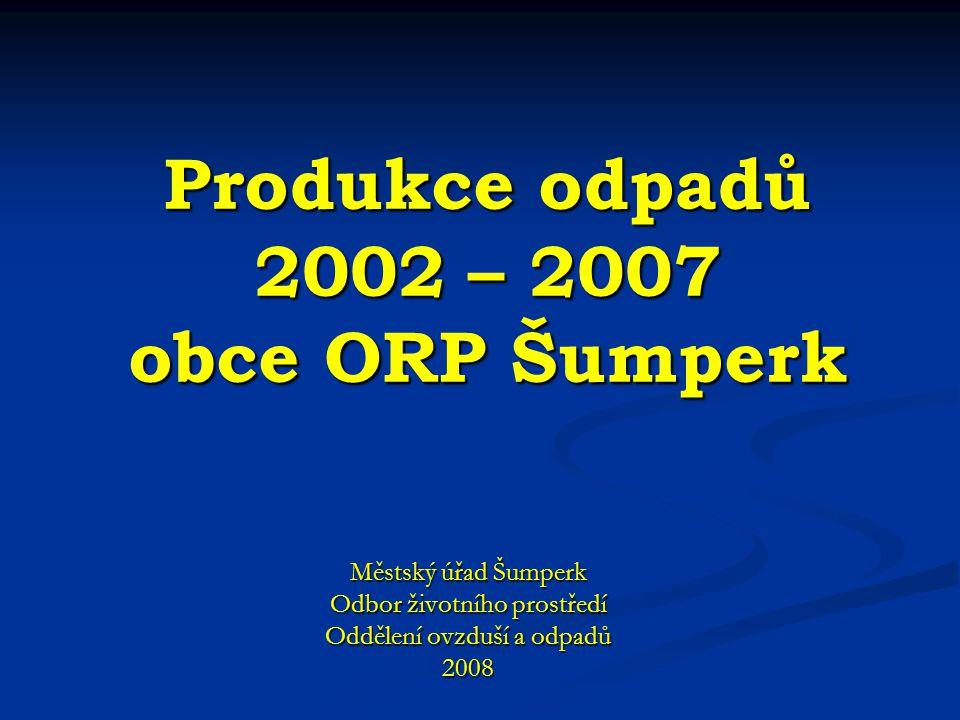 Produkce odpadů 2002 – 2007 obce ORP Šumperk Městský úřad Šumperk Odbor životního prostředí Oddělení ovzduší a odpadů 2008