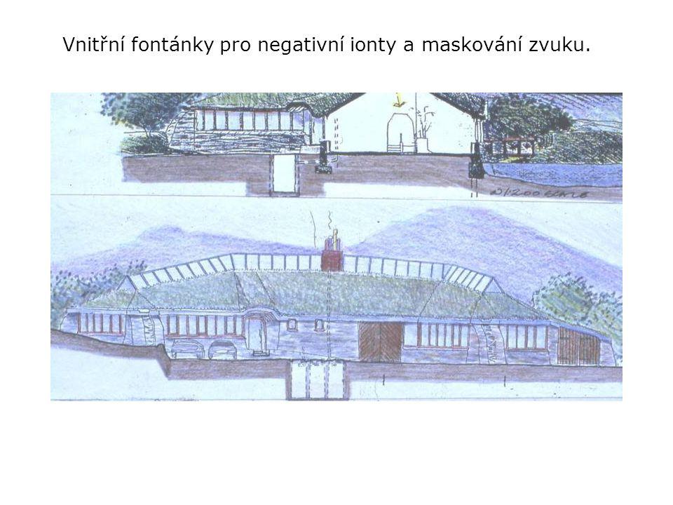 Vnitřní fontánky pro negativní ionty a maskování zvuku.