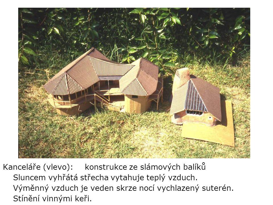 Kanceláře (vlevo): konstrukce ze slámových balíků Sluncem vyhřátá střecha vytahuje teplý vzduch.