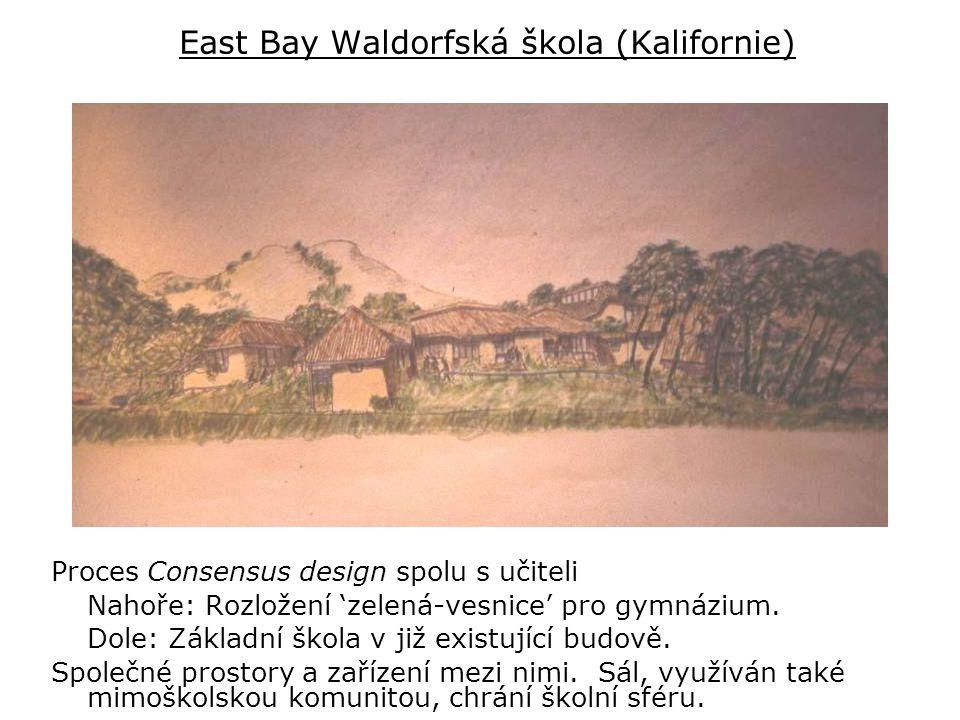 East Bay Waldorfská škola (Kalifornie) Proces Consensus design spolu s učiteli Nahoře: Rozložení 'zelená-vesnice' pro gymnázium.