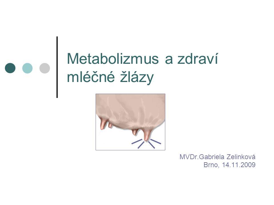 Metabolizmus a zdraví mléčné žlázy MVDr.Gabriela Zelinková Brno, 14.11.2009