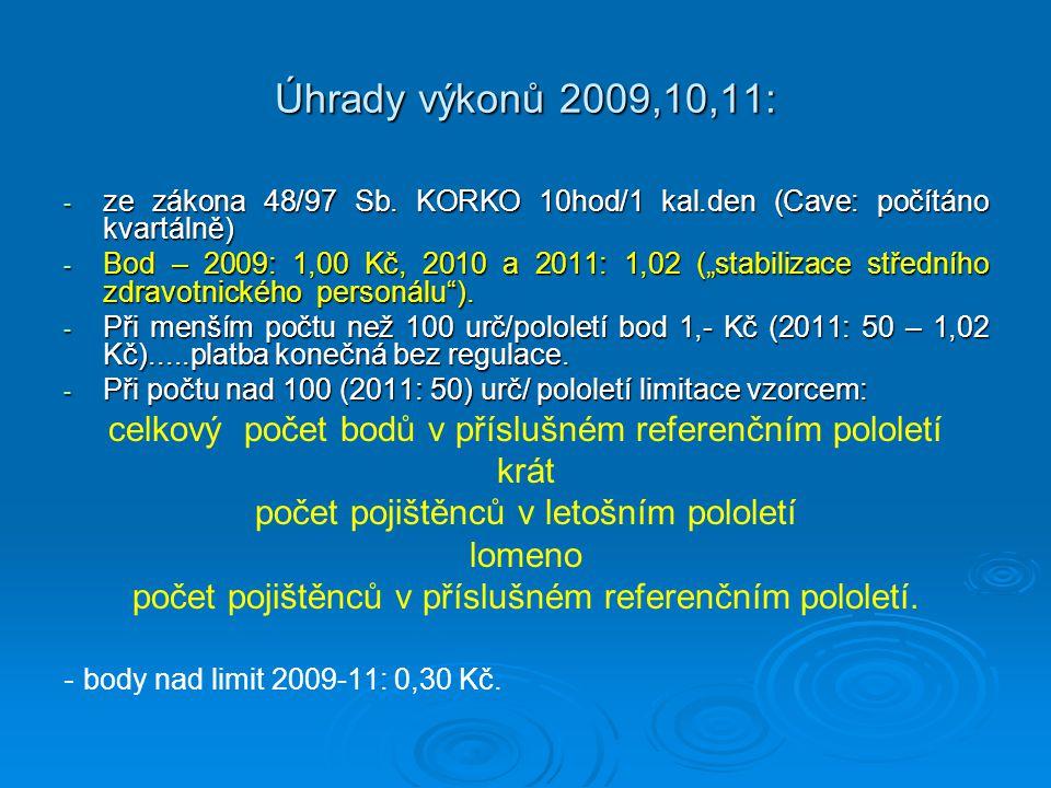 """Úhrady výkonů 2009,10,11: - ze zákona 48/97 Sb. KORKO 10hod/1 kal.den (Cave: počítáno kvartálně) - Bod – 2009: 1,00 Kč, 2010 a 2011: 1,02 (""""stabilizac"""