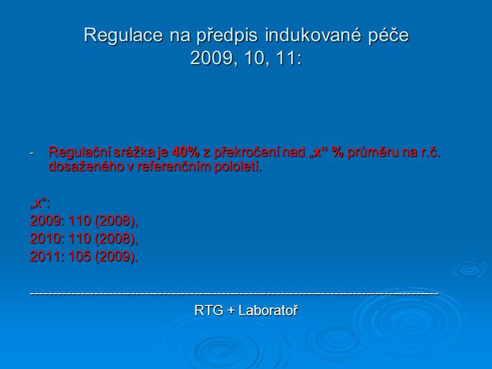 """Regulace na předpis indukované péče 2009, 10, 11: - Regulační srážka je 40% z překročení nad """"x"""" % průměru na r.č. dosaženého v referenčním pololetí."""