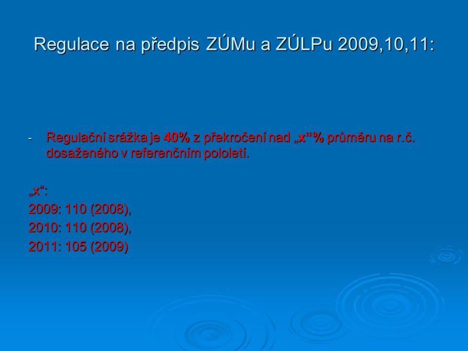 """Regulace na předpis ZÚMu a ZÚLPu 2009,10,11: - Regulační srážka je 40% z překročení nad """"x""""% průměru na r.č. dosaženého v referenčním pololetí. """"x"""": 2"""