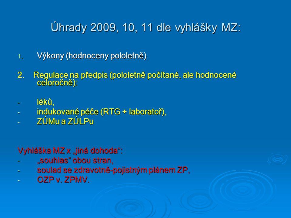 Úhrady 2009, 10, 11 dle vyhlášky MZ: 1. Výkony (hodnoceny pololetně) 2. Regulace na předpis (pololetně počítané, ale hodnocené celoročně): - léků, - i