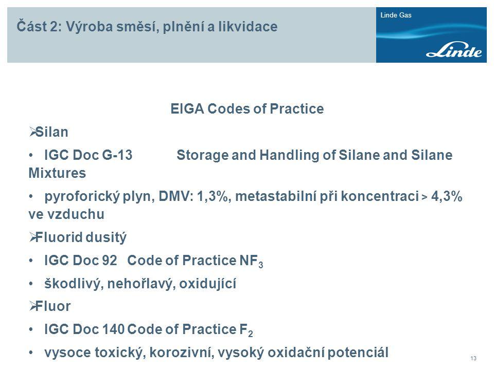 Linde Gas 13 Část 2: Výroba směsí, plnění a likvidace EIGA Codes of Practice  Silan • IGC Doc G-13Storage and Handling of Silane and Silane Mixtures