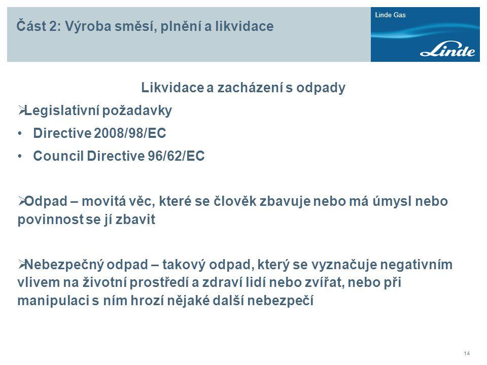 Linde Gas 14 Část 2: Výroba směsí, plnění a likvidace Likvidace a zacházení s odpady  Legislativní požadavky • Directive 2008/98/EC • Council Directi