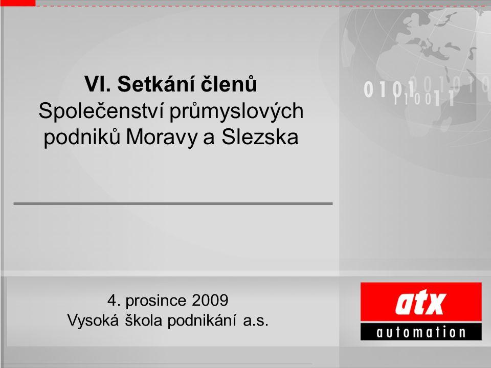 Ing. Bohuslav Vránek, CSc. ředitel a jednatel společnosti VI. Setkání členů Společenství průmyslových podniků Moravy a Slezska 4. prosince 2009 Vysoká