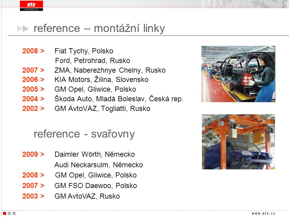 2008 > Fiat Tychy, Polsko Ford, Petrohrad, Rusko 2007 > ZMA, Naberezhnye Chelny, Rusko 2006 > KIA Motors, Žilina, Slovensko 2005 > GM Opel, Gliwice, P
