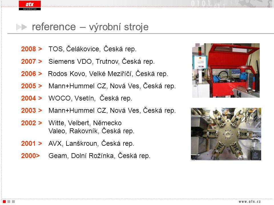2008 > TOS, Čelákovice, Česká rep. 2007 > Siemens VDO, Trutnov, Česká rep. 2006 > Rodos Kovo, Velké Meziříčí, Česká rep. 2005 > Mann+Hummel CZ, Nová V