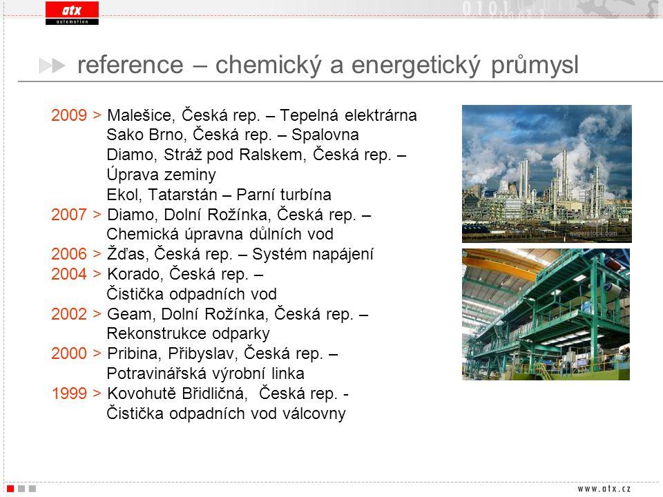 reference – chemický a energetický průmysl 2009 > Malešice, Česká rep. – Tepelná elektrárna Sako Brno, Česká rep. – Spalovna Diamo, Stráž pod Ralskem,