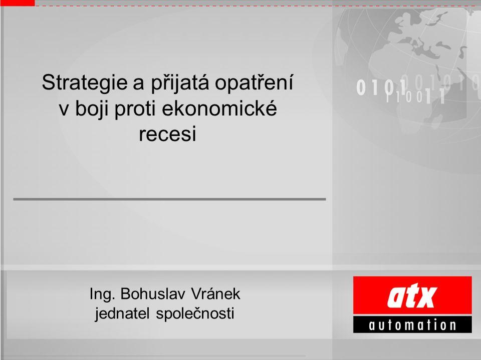 Ing. Bohuslav Vránek, CSc. ředitel a jednatel společnosti Strategie a přijatá opatření v boji proti ekonomické recesi Ing. Bohuslav Vránek jednatel sp