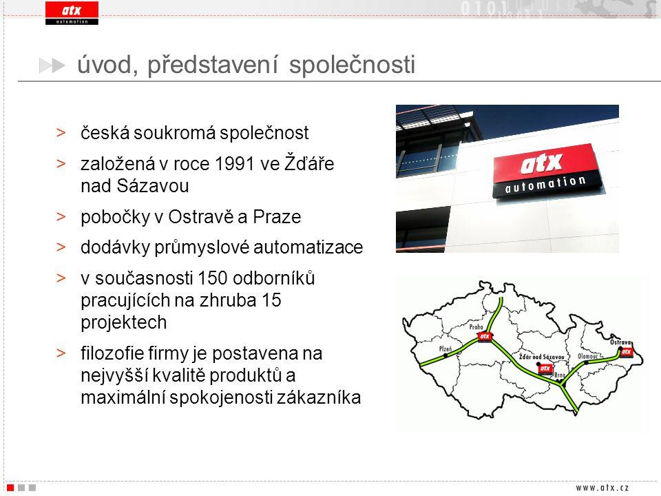 úvod, představení společnosti >česká soukromá společnost >založená v roce 1991 ve Žďáře nad Sázavou >pobočky v Ostravě a Praze >dodávky průmyslové aut