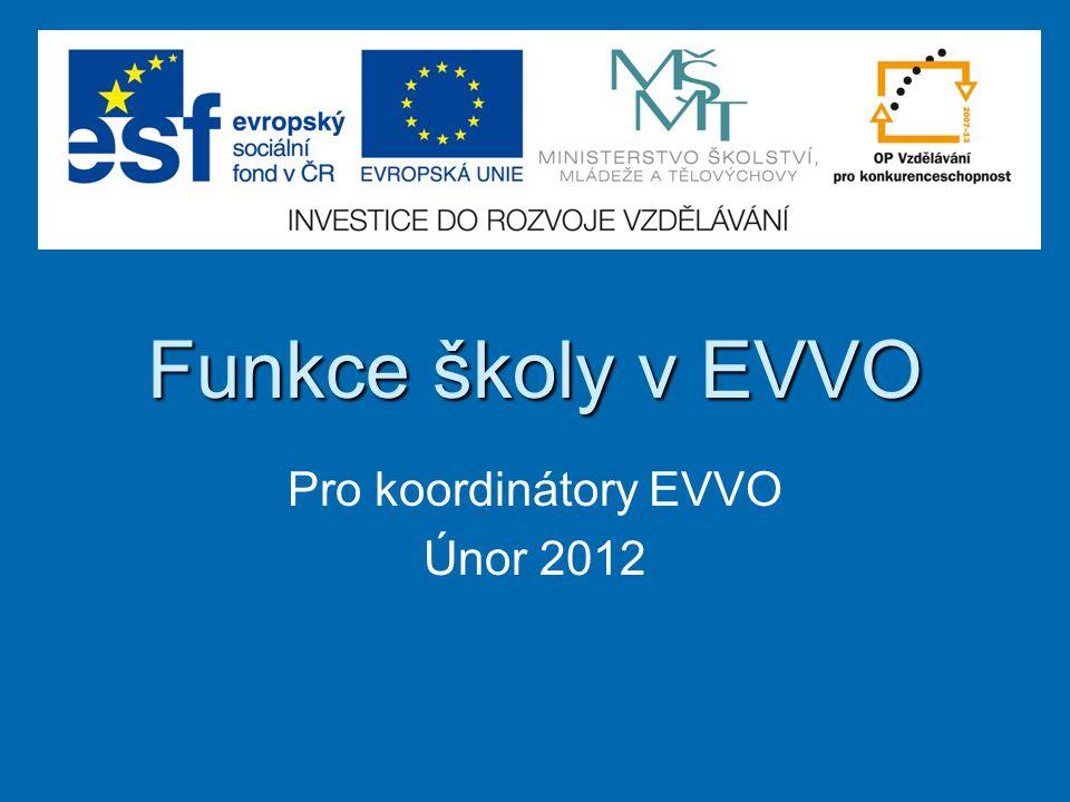 Funkce školy v EVVO Pro koordinátory EVVO Únor 2012