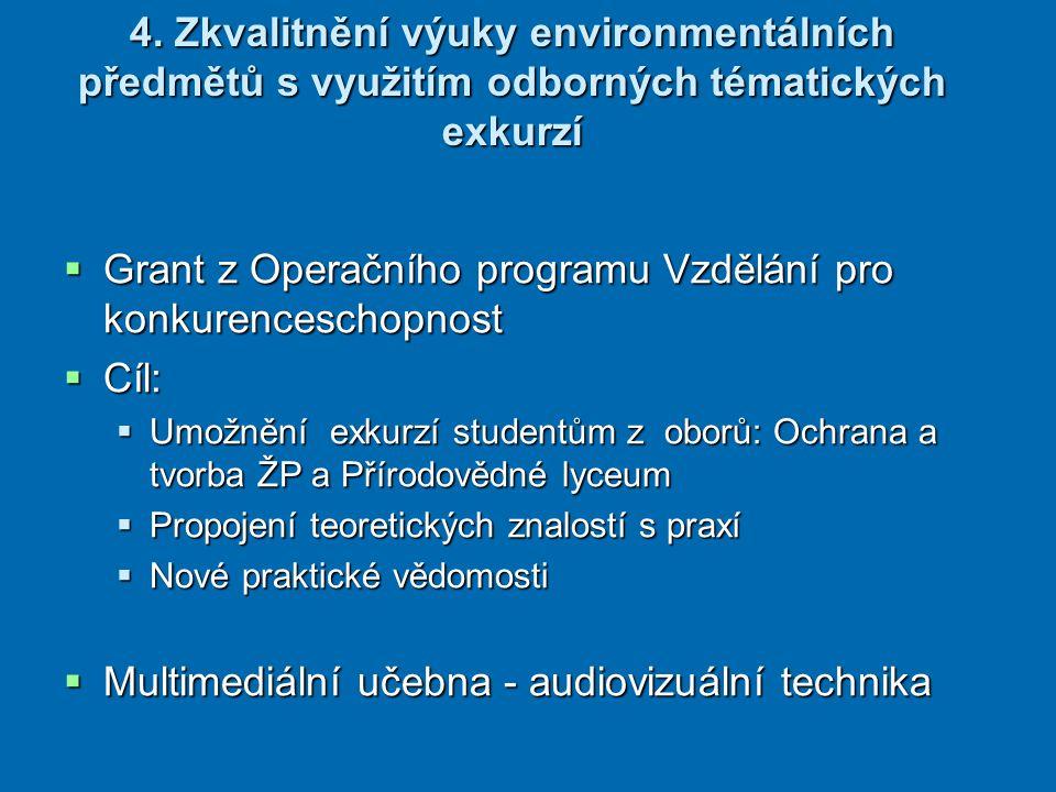 4. Zkvalitnění výuky environmentálních předmětů s využitím odborných tématických exkurzí  Grant z Operačního programu Vzdělání pro konkurenceschopnos