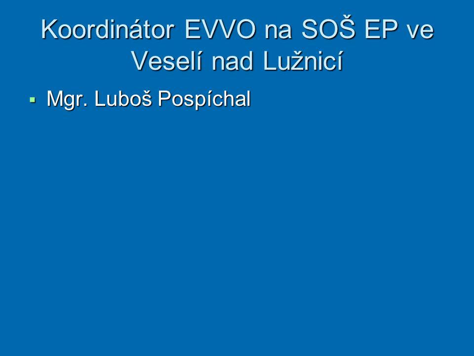 Koordinátor EVVO na SOŠ EP ve Veselí nad Lužnicí  Mgr. Luboš Pospíchal