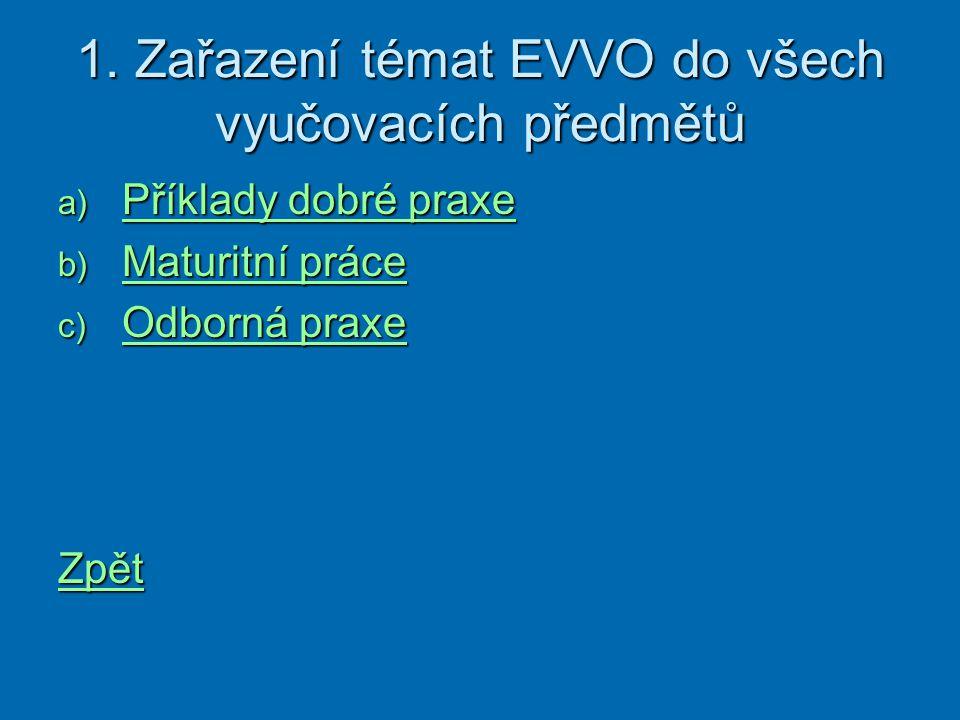 1. Zařazení témat EVVO do všech vyučovacích předmětů a) Příklady dobré praxe Příklady dobré praxe Příklady dobré praxe b) Maturitní práce Maturitní pr