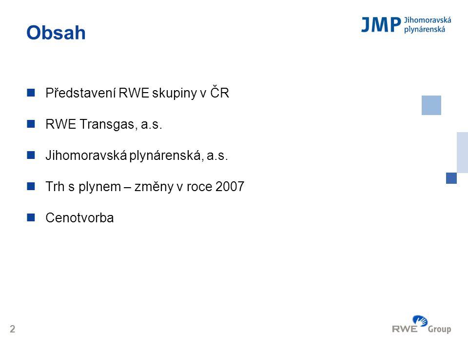 Logo 2 Obsah  Představení RWE skupiny v ČR  RWE Transgas, a.s.  Jihomoravská plynárenská, a.s.  Trh s plynem – změny v roce 2007  Cenotvorba