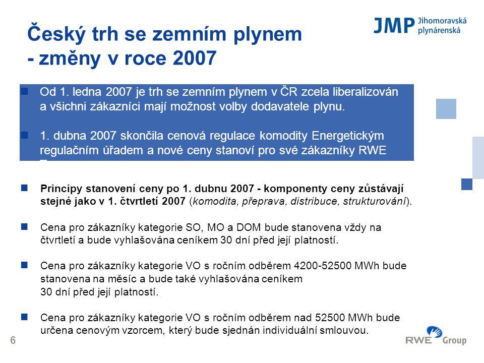 Logo 6 Český trh se zemním plynem - změny v roce 2007  Principy stanovení ceny po 1. dubnu 2007 - komponenty ceny zůstávají stejné jako v 1. čtvrtlet