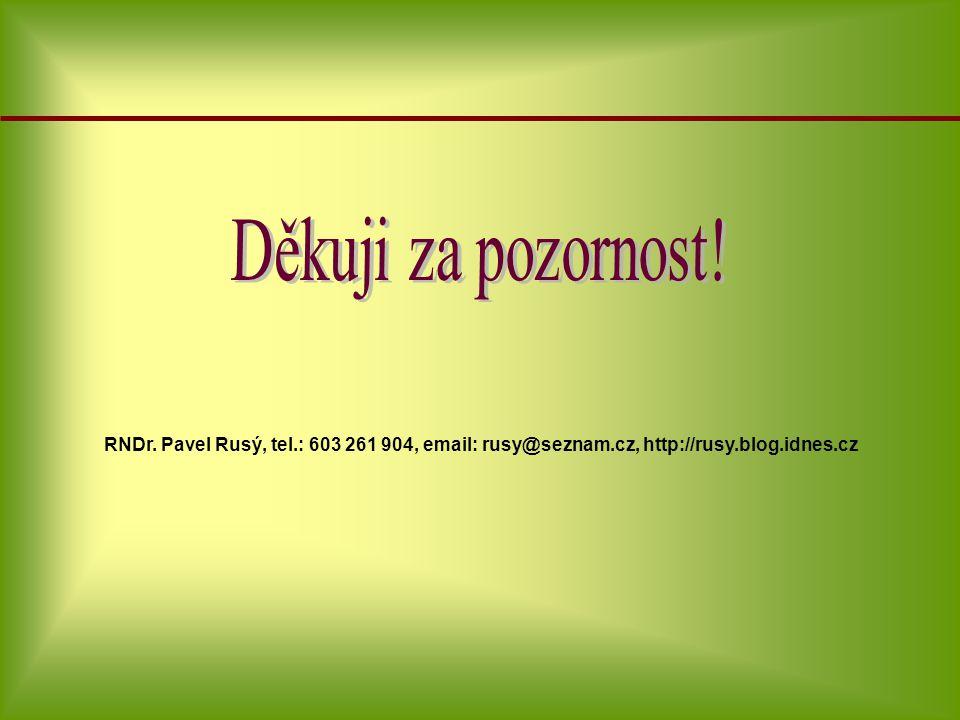 RNDr. Pavel Rusý, tel.: 603 261 904, email: rusy@seznam.cz, http://rusy.blog.idnes.cz