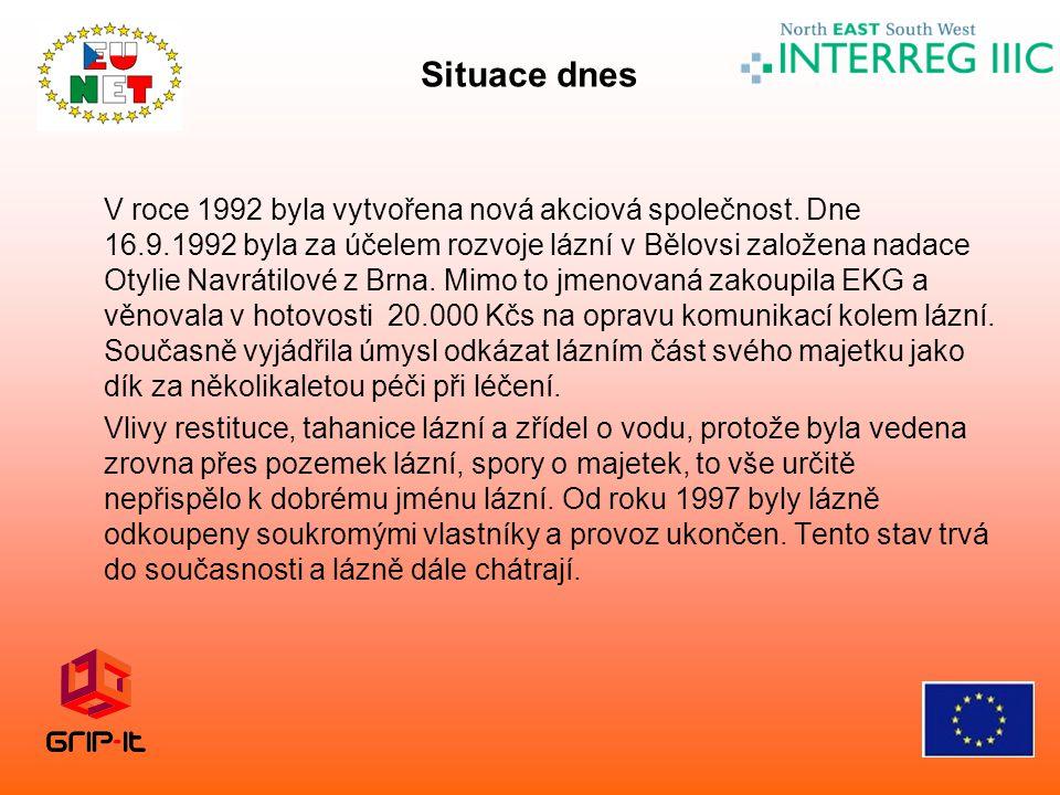 V roce 1992 byla vytvořena nová akciová společnost. Dne 16.9.1992 byla za účelem rozvoje lázní v Bělovsi založena nadace Otylie Navrátilové z Brna. Mi