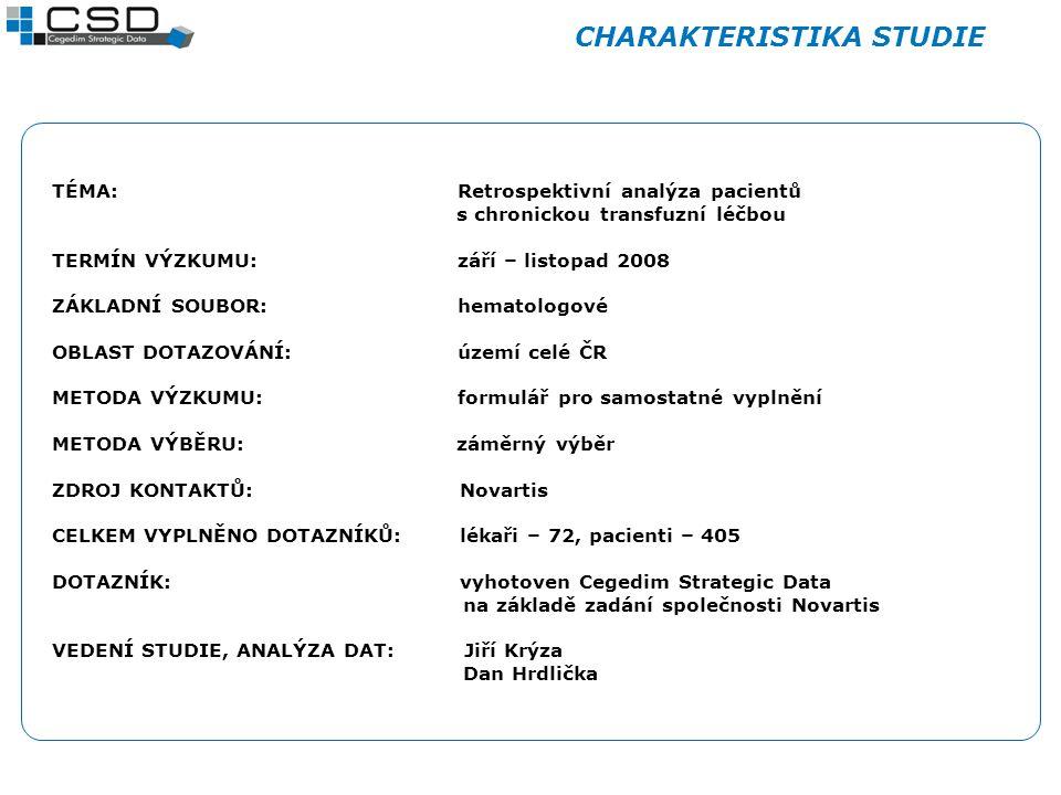 CHARAKTERISTIKA STUDIE TÉMA: Retrospektivní analýza pacientů s chronickou transfuzní léčbou TERMÍN VÝZKUMU: září – listopad 2008 ZÁKLADNÍ SOUBOR: hema