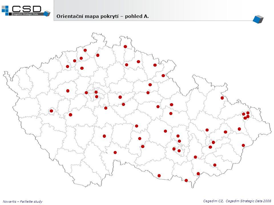 Cegedim CZ, Cegedim Strategic Data 2008 Novartis – Paillette study Praha 7 x FN (72) Praha O (4) Plzeň FN (28) Brno O (10) Brno FN (20) Benešov KN (3) Hradec Králové FN (23) Kladno ON (3) Mladá Boleslav ON (2) Ostrava FN (6) Olomouc FN (18) Pardubice KN (10) Rakovník ON (2) Blansko ON (9) Boskovice ON (1) Břeclav ON (2) Čáslav O (5) Česká Lípa ON (9) Frýdek-Místek KN (4) Havířov ON (3) Havl.