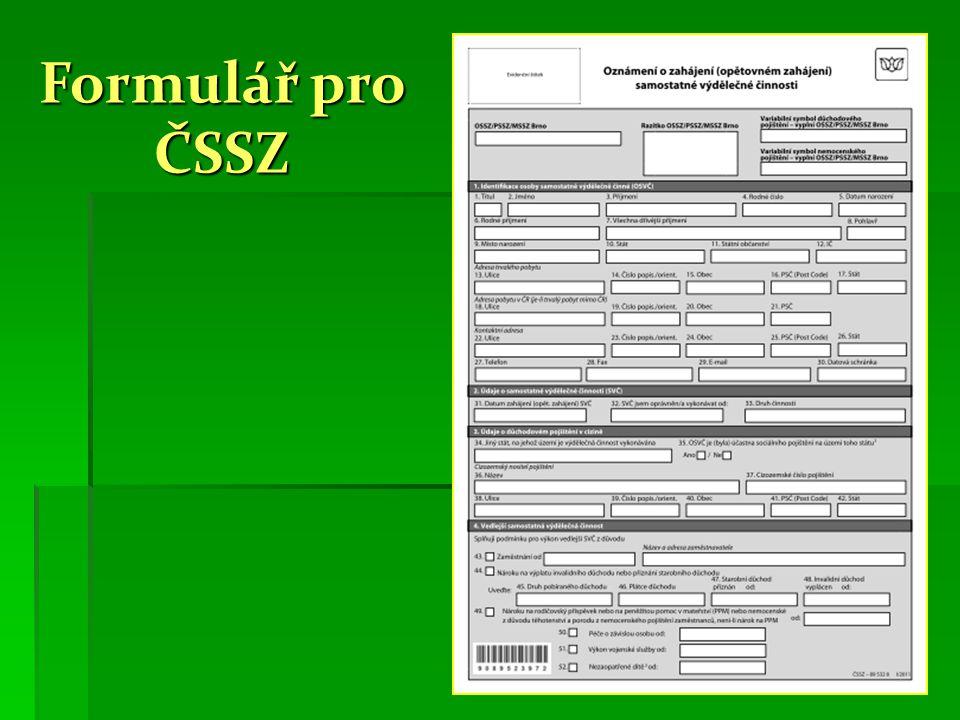 Formulář pro ČSSZ