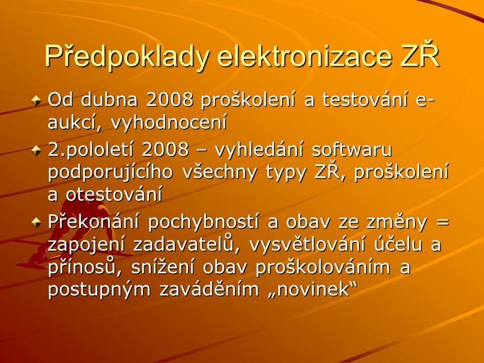 Předpoklady elektronizace ZŘ Od dubna 2008 proškolení a testování e- aukcí, vyhodnocení 2.pololetí 2008 – vyhledání softwaru podporujícího všechny typ