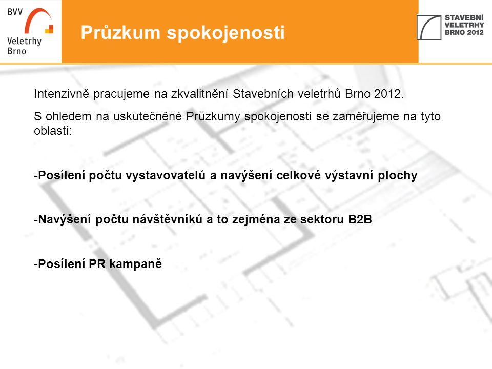 4 Průzkum spokojenosti Intenzivně pracujeme na zkvalitnění Stavebních veletrhů Brno 2012. S ohledem na uskutečněné Průzkumy spokojenosti se zaměřujeme