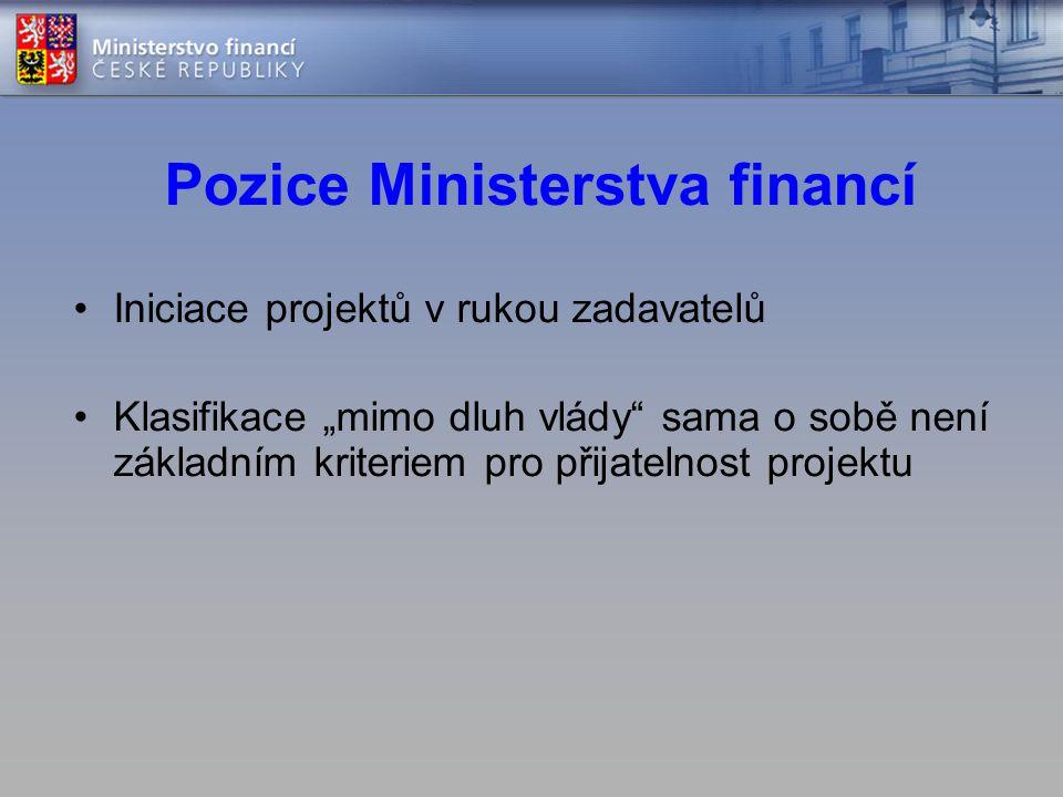 """Pozice Ministerstva financí •Iniciace projektů v rukou zadavatelů •Klasifikace """"mimo dluh vlády"""" sama o sobě není základním kriteriem pro přijatelnost"""