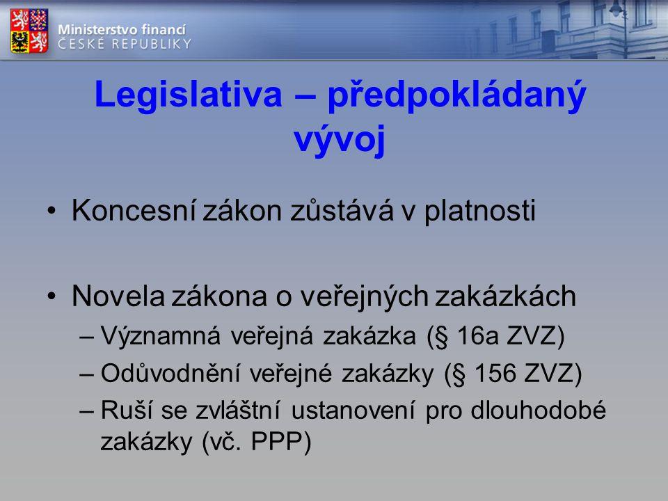 Legislativa – předpokládaný vývoj •Koncesní zákon zůstává v platnosti •Novela zákona o veřejných zakázkách –Významná veřejná zakázka (§ 16a ZVZ) –Odůvodnění veřejné zakázky (§ 156 ZVZ) –Ruší se zvláštní ustanovení pro dlouhodobé zakázky (vč.