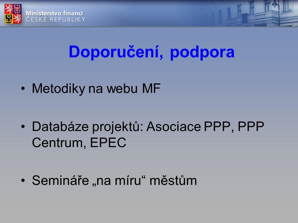 """Doporučení, podpora •Metodiky na webu MF •Databáze projektů: Asociace PPP, PPP Centrum, EPEC •Semináře """"na míru městům"""