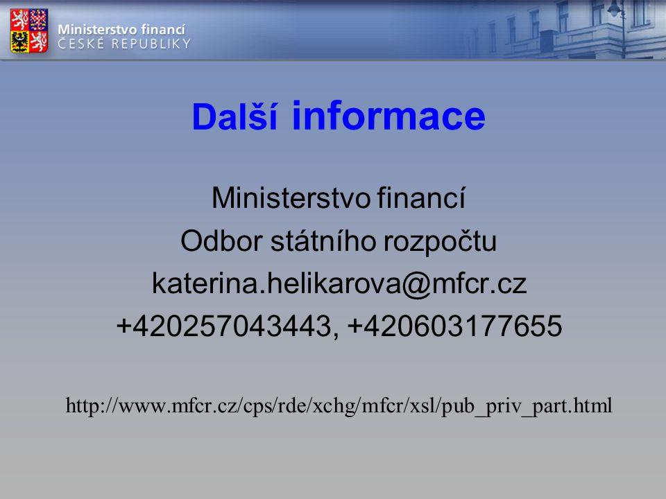 Další informace Ministerstvo financí Odbor státního rozpočtu katerina.helikarova@mfcr.cz +420257043443, +420603177655 http://www.mfcr.cz/cps/rde/xchg/