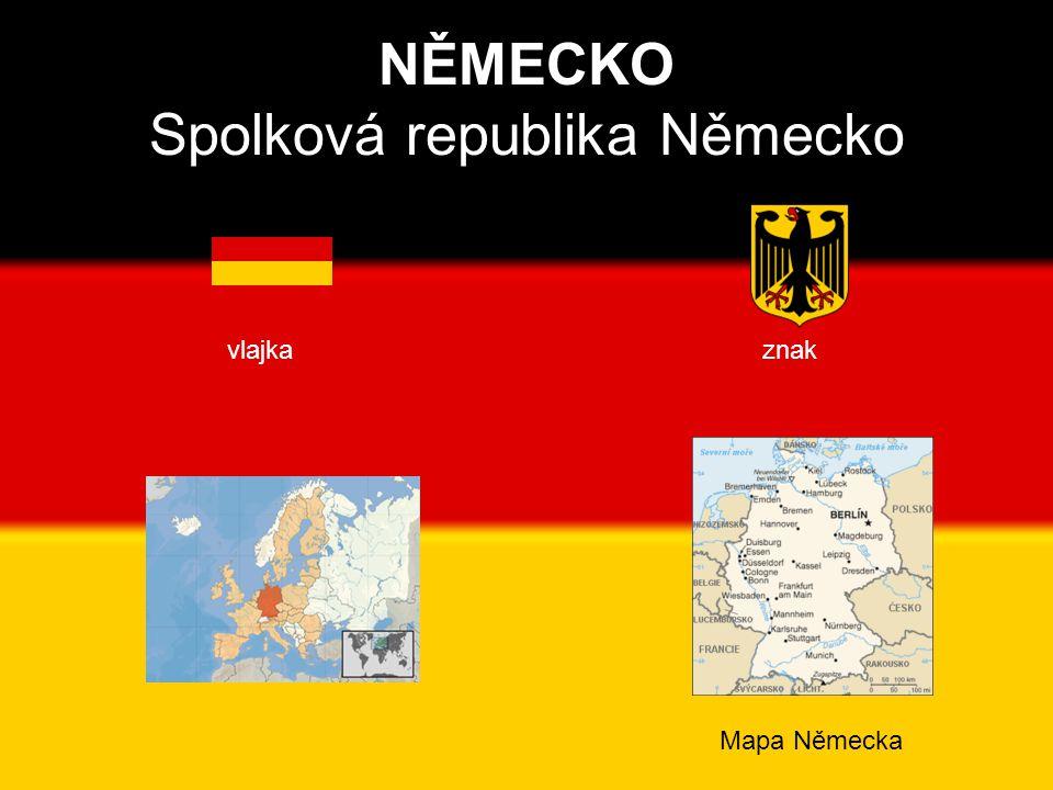 NĚMECKO Spolková republika Německo vlajka znak Mapa Německa