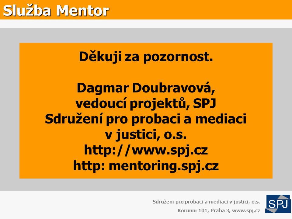 Děkuji za pozornost. Dagmar Doubravová, vedoucí projektů, SPJ Sdružení pro probaci a mediaci v justici, o.s. http://www.spj.cz http: mentoring.spj.cz