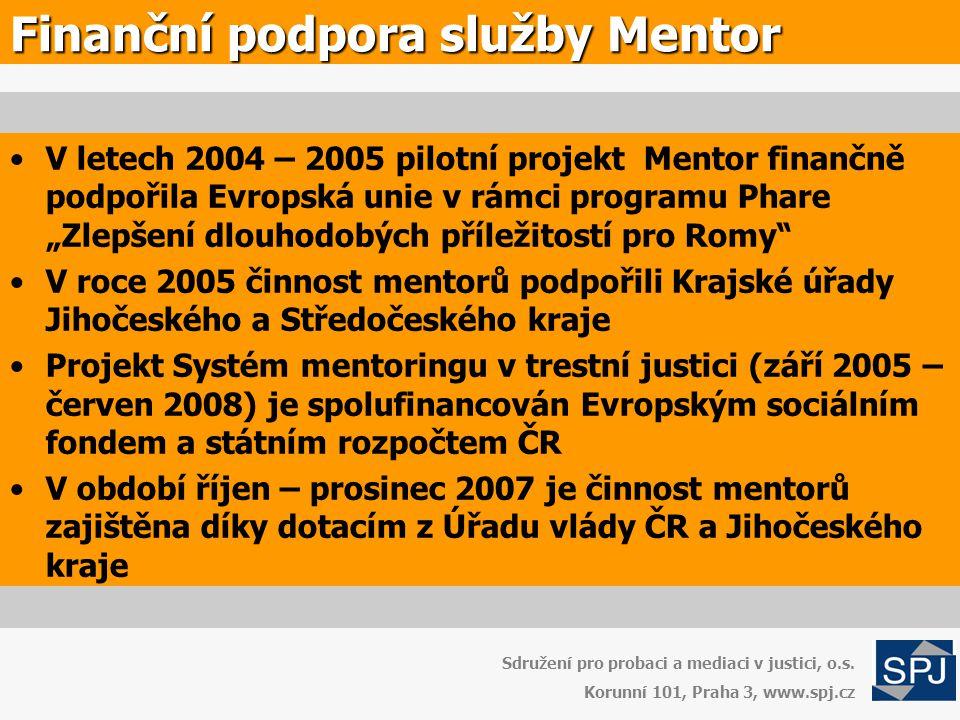 """Finanční podpora služby Mentor •V letech 2004 – 2005 pilotní projekt Mentor finančně podpořila Evropská unie v rámci programu Phare """"Zlepšení dlouhodo"""