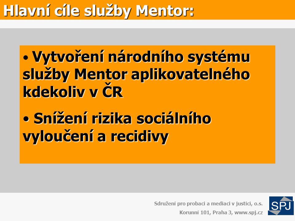 Hlavní cíle služby Mentor: Vytvoření národního systému služby Mentor aplikovatelného kdekoliv v ČR • Vytvoření národního systému služby Mentor aplikov