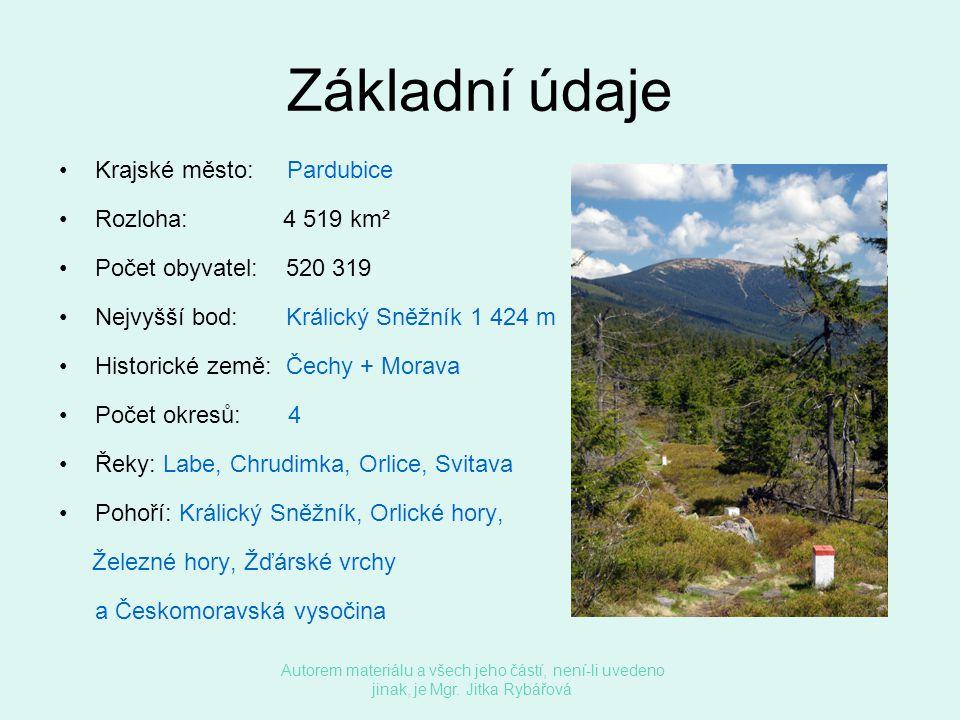 Základní údaje •Krajské město: Pardubice •Rozloha: 4 519 km² •Počet obyvatel: 520 319 •Nejvyšší bod: Králický Sněžník 1 424 m •Historické země: Čechy