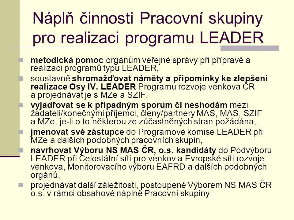 Náplň činnosti Pracovní skupiny pro realizaci programu LEADER  metodická pomoc orgánům veřejné správy při přípravě a realizaci programů typu LEADER,