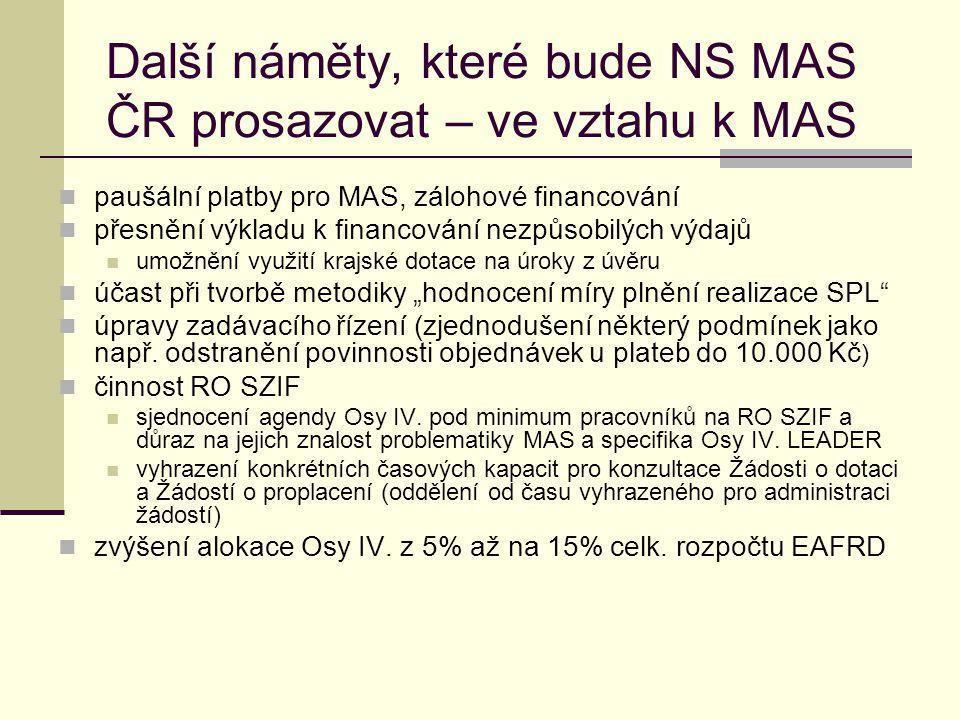 Další náměty, které bude NS MAS ČR prosazovat – ve vztahu k MAS  paušální platby pro MAS, zálohové financování  přesnění výkladu k financování nezpů