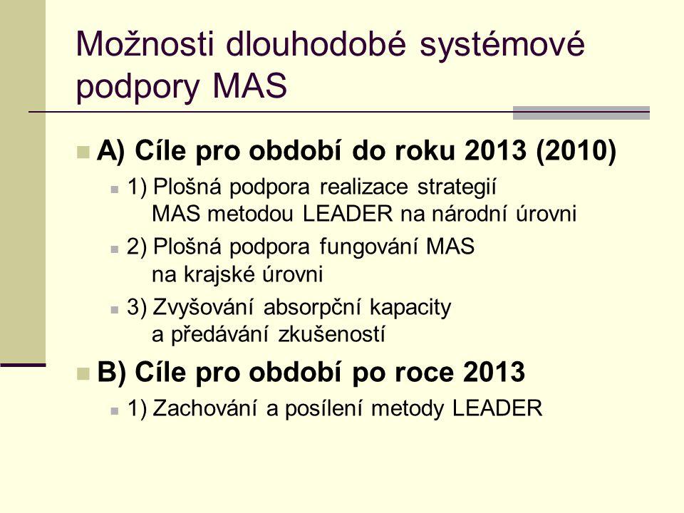 Možnosti dlouhodobé systémové podpory MAS  A) Cíle pro období do roku 2013 (2010)  1) Plošná podpora realizace strategií MAS metodou LEADER na národ