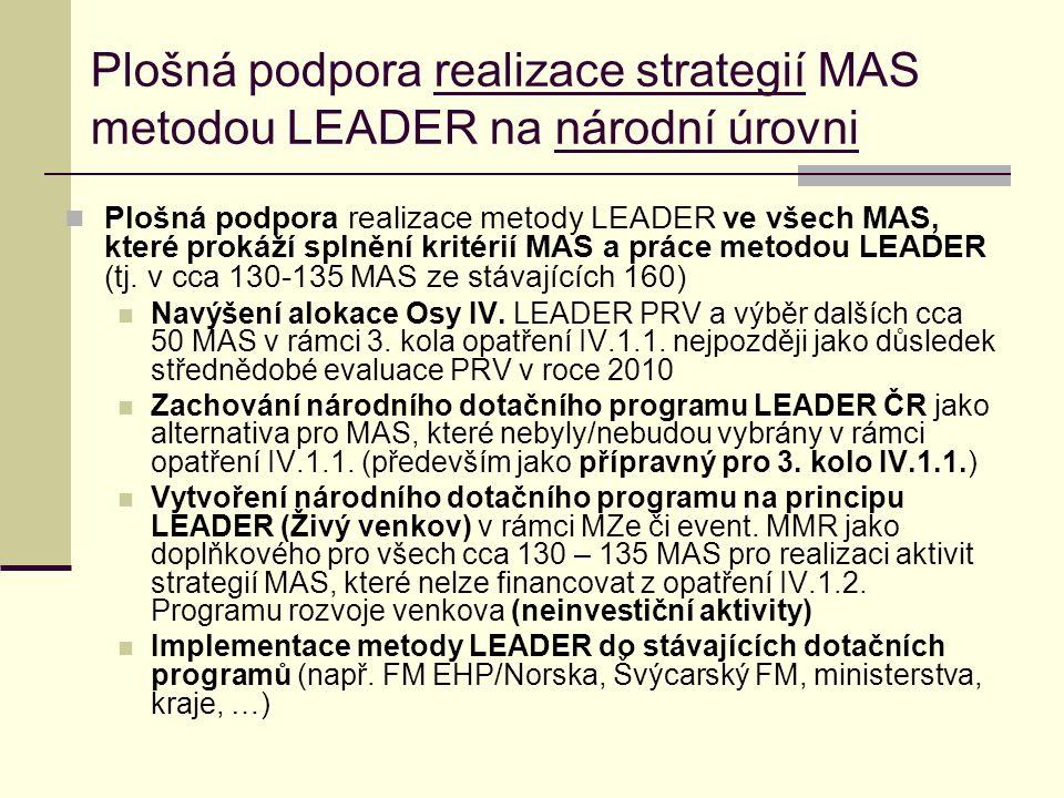 Plošná podpora realizace strategií MAS metodou LEADER na národní úrovni  Plošná podpora realizace metody LEADER ve všech MAS, které prokáží splnění k