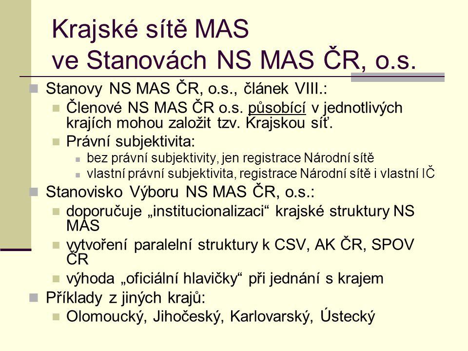 Krajské sítě MAS ve Stanovách NS MAS ČR, o.s.  Stanovy NS MAS ČR, o.s., článek VIII.:  Členové NS MAS ČR o.s. působící v jednotlivých krajích mohou