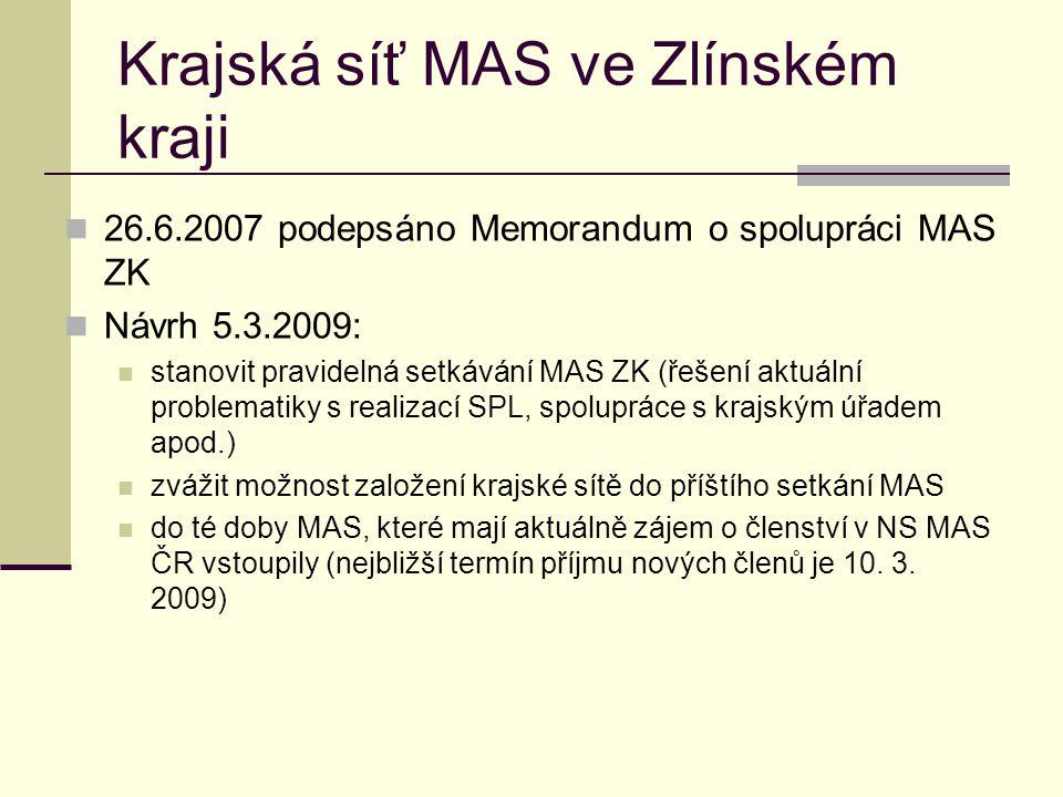 Krajská síť MAS ve Zlínském kraji  26.6.2007 podepsáno Memorandum o spolupráci MAS ZK  Návrh 5.3.2009:  stanovit pravidelná setkávání MAS ZK (řešen