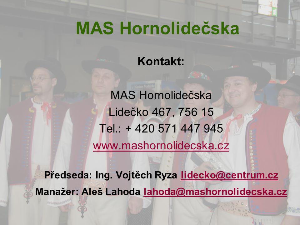 MAS Hornolidečska Kontakt: MAS Hornolidečska Lidečko 467, 756 15 Tel.: + 420 571 447 945 www.mashornolidecska.cz Předseda: Ing. Vojtěch Ryza lidecko@c