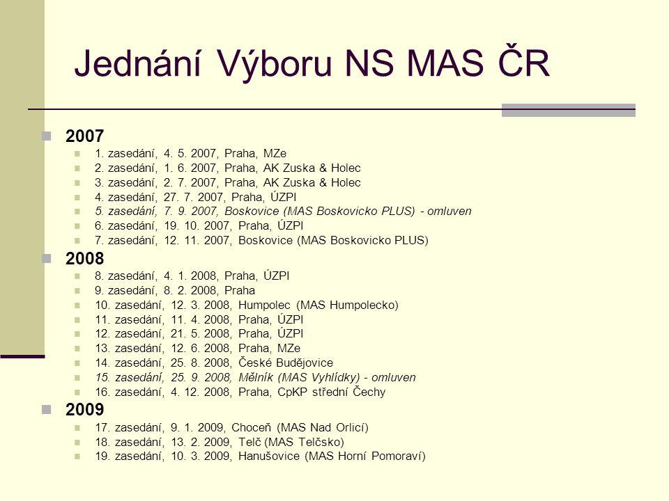 Jednání Výboru NS MAS ČR  2007  1. zasedání, 4. 5. 2007, Praha, MZe  2. zasedání, 1. 6. 2007, Praha, AK Zuska & Holec  3. zasedání, 2. 7. 2007, Pr